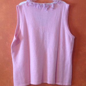Storybook Knits Sweaters - Storybook Knits Fringe Pink White Sweater Vest 2X